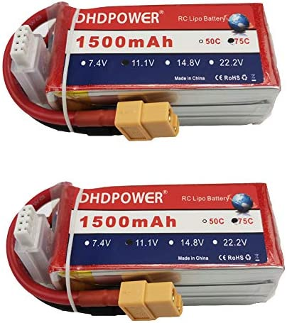 11 1V 75C 1500mAh 2PCS DHDPOWER RC Lipo Battery with XT60 Plug for RC Airplane Quadcopter Helicopter product image