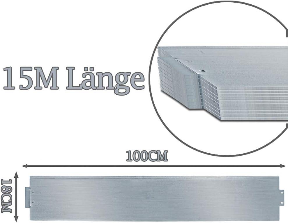 5m Beetumrandung Metall 100x18cm Beetumrandung Beetumrandung M/ähkante Metall Palisade VINGO Rasenkante Verzinkt L/änge 5m - H/öhe 18cm