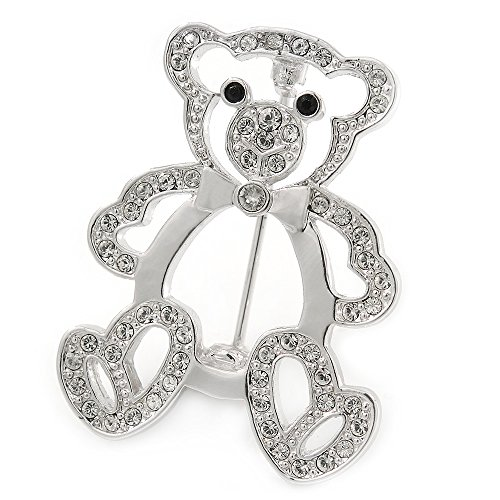 Avalaya Open Crystal Teddy Bear Brooch in Rhodium Plated Metal - 35mm L