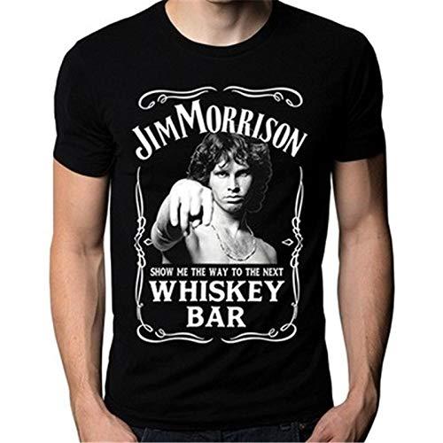 Men Fashion t-Shirt Jim Morrison Show Me The Way to Next Whiskey Bar Doors Logo Men's T-Shirt Men Casual Shirt