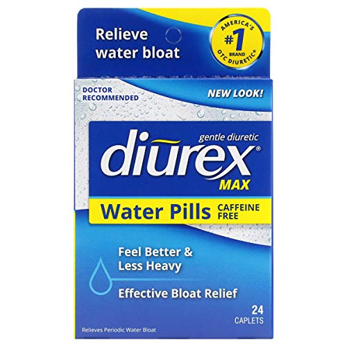 Diurex Max Water Pills - Maximum Strength Caffeine Free Diuretic - Relieve Water Bloat - 24 Count