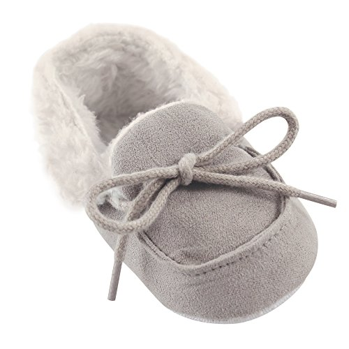 Luvable Friends Unisex Baby Moccasin Shoes, Gray, 12-18 Months