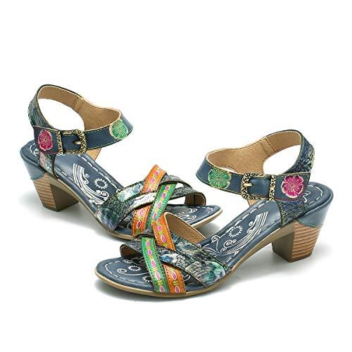 gracosy Damen Mary Jane Pumps Leder Sommerschuhe Bunte Schuhe mit Absatz 2019 Elegant Sommer Sandalen Party Schuhe Damen Sommer