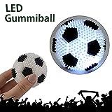 Cepewa 3X LED Gummiball Fussball Spielball Mini Fussball Blinkend Licht Knautschball Kinder Ball