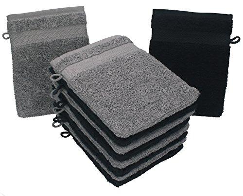 Betz Lot de 10 Gants de Toilette Taille 16x21 cm 100% Coton Premium Couleur Gris Anthracite, Noir