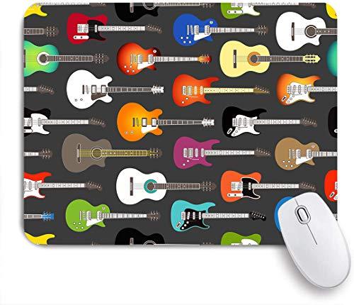 Dekoratives Gaming-Mauspad,Gitarre pattern,Bürocomputer-Mausmatte mit rutschfester Gummibasis