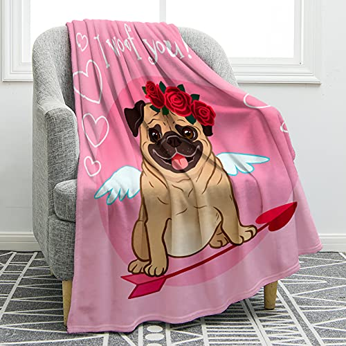 Jekeno French Bull Dog Blanket Pink Comfort Soft Print Throw Blanket for Kid Sofa Chair Bed Office Gift 60'x80'