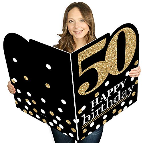 Big Dot of Happiness Adult 50th Birthday - Gold - Happy Birthday Giant Greeting Card - Big Shaped Jumborific Card - 16.5 x 22 inches