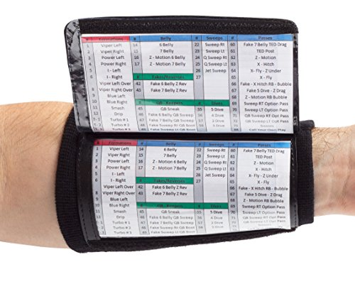 WristCoaches QB Wrist Coach Playbook Wristband Youth Black Heavy Duty Football Wristbands for Boys with Three Playsheet Compartments Perfect for Flag Football and Tackle Football