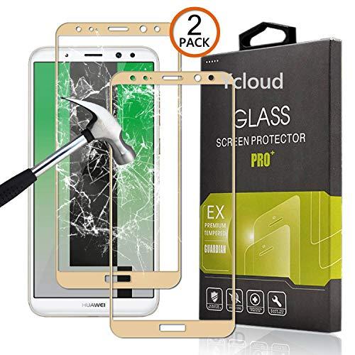 Ycloud [2 Pack Protector de Pantalla para Huawei Mate 10 Lite [Cobertura Completa] Vidrio Templado Screen Protector (Gold)