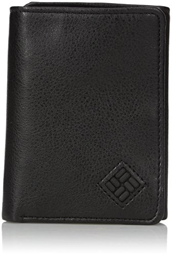 Columbia Men's RFID Leather Wallet - Big Skinny Trifold Vertical Security Protection Credit Card Slots and ID Window,Black,One sizee