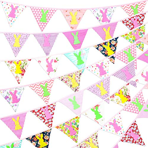 Easter Fabric Bunting Banner, 32.8 Feet Double Sided Flags Garland with Felt Bunny, Vintage Floral Pennants with 40 Plush Balls for Easter Birthday Parties Baby Shower Home