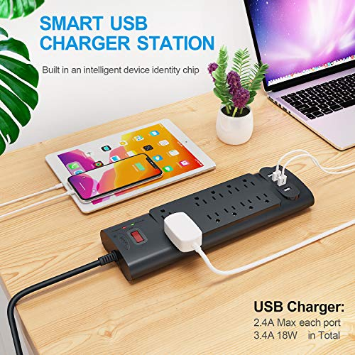 Power Strip, Bototek Surge Protector with 10 AC Outlets and 4 USB Charging Ports,1875W/15A, 2100 Joules, 6 Feet Long Extension Cord for Smartphone Tablets Home,Office, Hotel- Black 7