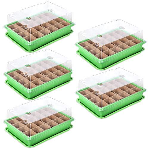 OWildeL Serra per la coltivazione di semi, mini serra, in plastica con attrezzi da giardino, piccolo e etichetta per piante, ideale per semi, un buon aiuto per la semina di semi (5 verde)