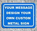 BA IMAGE Personalized Custom Blue 011 Aluminum Metal Sign with Your Name!