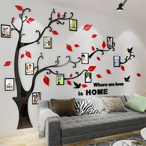 Wandtattoo Baum 3D DIY Wandaufkleber Sticker mit Bilderrahmen Foto Baum Wandsticker Wanddeko Deko für Hause Kinderzimmer Wohnzimmer Schlafzimmer(XL: 200 * 276CM,Rot Rechts)