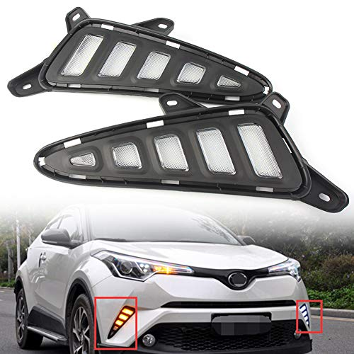 GZYF Toyota CHR C-HR 2018 LED DRLデイタイムランニングライト ディライト テールランプ フォグランプ ウインカー機能付き 高輝度 LEDライト 防水 防塵 耐衝撃性 ホワイト/イエロー