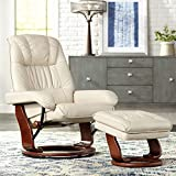 Kyle Taupe Faux Leather Ottoman and Swiveling Recliner