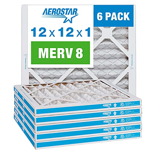 Aerostar 12x12x1 MERV 8 Pleated Air Filter, AC Furnace Air...