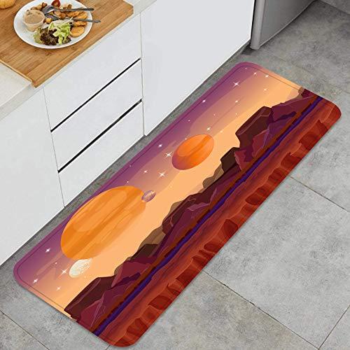 PUIO Juegos de alfombras de Cocina Multiusos,Fondo de Juego de Ciencia ficción de Paisaje de Planeta alienígena,Alfombrillas cómodas para Uso en el Piso de Cocina súper absorbentes y Antideslizantes