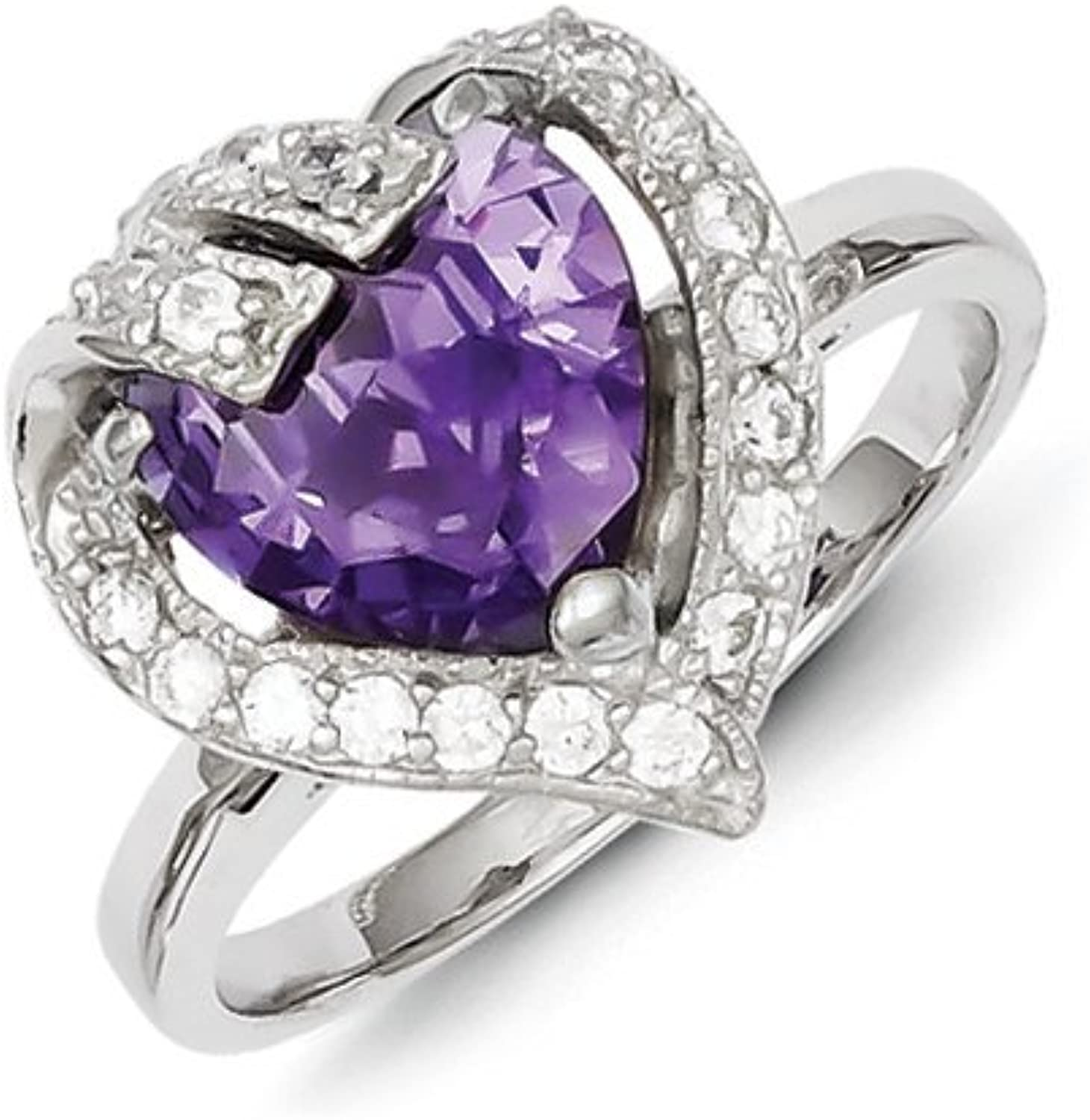 gold and Watches Sterling Silver Purple & Clear CZ Ring