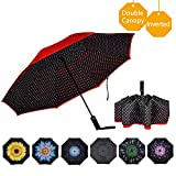 VIWINVELA Inverted Automatic Umbrella Double Layer Windproof Reverse Folding Umbrella for Car Travel Men Women (06.Red Dot)