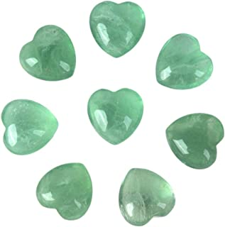 Natural Green Fluorite Gemstone Healing Crystal 1 inch Mini Puffy Love Heart Pocket Stone Iron Gift Box (Pack of 8)