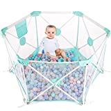 Baby Playpen, Foldable and Portable Mesh Baby Fence with Carry Bag, Large Activity Centre for Boys Girls, Children Toddler Kids Indoor Outdoor Safety Play Yard Ball Pool (6 Panel, White&Blue)