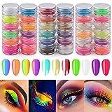 36 Colores Polvo de Pigmento de Uñas, EBANKU Polvo de Uñas de Neón Fluorescente Brillo...