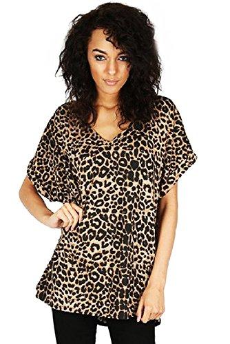 Femmes Grande Taille Compatible avec Col V Haut Femmes Baggy grande taille Manches chauve-souris Décontracté T Shirt tailles 8-24, Marron - Brown Leopard, X-Large