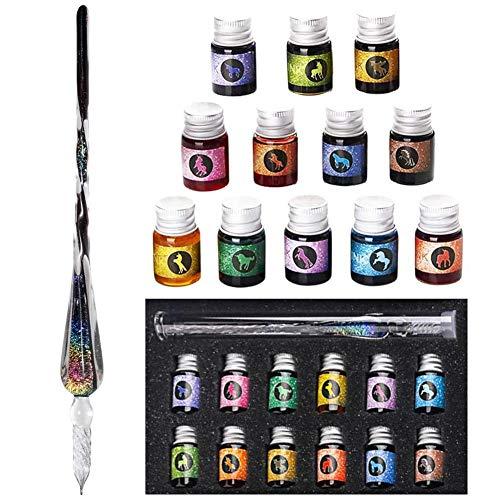 QoFina Crystal Starry Sky Glasstift, Glasstifte-Set Kalligraphie Stift mit 12 bunten Tinten glasfeder für Geschenkkarten Schreiben von Unterschriften Kalligraphie