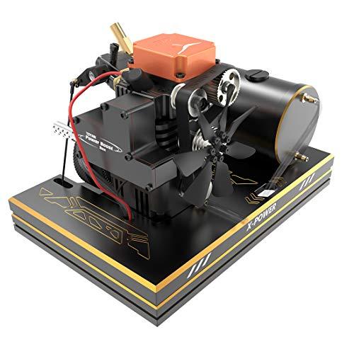 Yamix 4 Stroke Methanol Engine RC Engine Toyan Engine DIY Engine Motor with Base Fuel Tank Throttle Push Rod Set for 1:10 1:12 1:14 RC Car Boat Airplane (FS-S100AS)