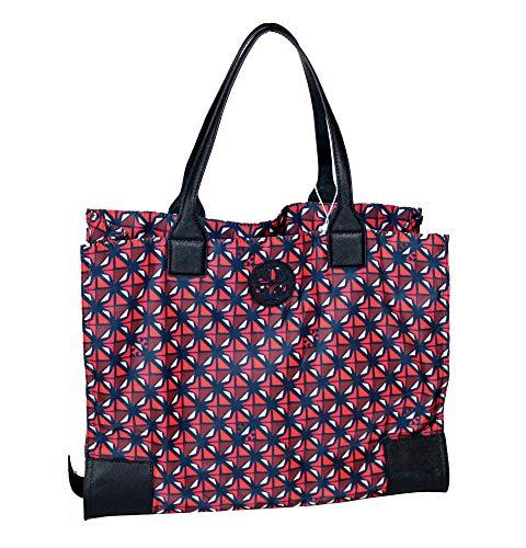 Tory Burch Ella Printed Packable Nylon Tote Women's Handbag (Collage Geo 614)