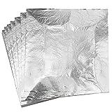 KINNO Pan de Plata de Imitación Lámina de Aluminio 100 hojas para Artes, Manualidades, Decoración de Muebles 16x16cm/6.3' X 6.3' (Plateado)
