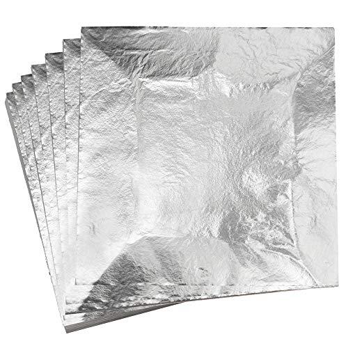 KINNO Pan de Plata Imitación Lámina de Aluminio para Artes Manualidades Decoración de Muebles 14x14cm/5.5