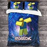 SL-YBB Roblox - Juego de ropa de cama con impresión 3D, decoración de dormitorio, juego de 3 piezas, funda de edredón, un regalo para jóvenes fans del juego (Roblox3, 135 x 200 cm + 80 x 80 cm x 2)
