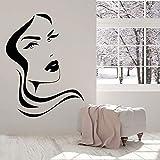 mlpnko Vinilo para Pared Chica Cara Labios diseño Peinado Peinado salón de Belleza Dormitorio decoración del hogar,CJX13447-63x83cm