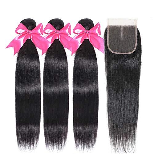 FZYHair 10A Brazilian Human Hair Bundles with Free Part Lace Closure 12 14 16+ 10 brasilianische Menschenhaar Bundles mit Schnürverschluss Natural Farbe