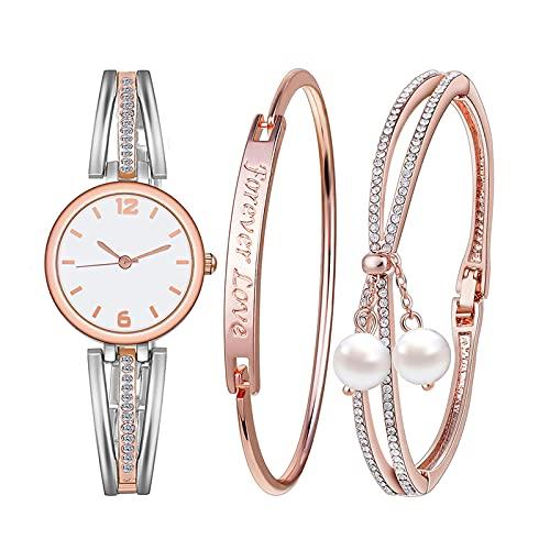 Souarts Conjunto de presente feminino - Pulseira de gravação gratuita para sempre amor imitação de pérolas para joias conjunto de relógio de pulso de quartzo de malha redonda ouro rosa