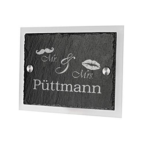 Ardoise plaque de porte avec verre acrylique avec gravure motif Mrs. & Mr