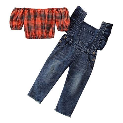 Moneycom❤Toddler Kids Baby Girl Plaid Off Épaules Tops + Denimd Suspender Pants Outfits Bleu(1-2 Ans)
