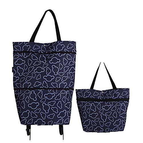 Toomett - Bolsa de compra plegable con ruedas, ideal para mujer, carrito de la compra reutilizable, alta capacidad (#7306)
