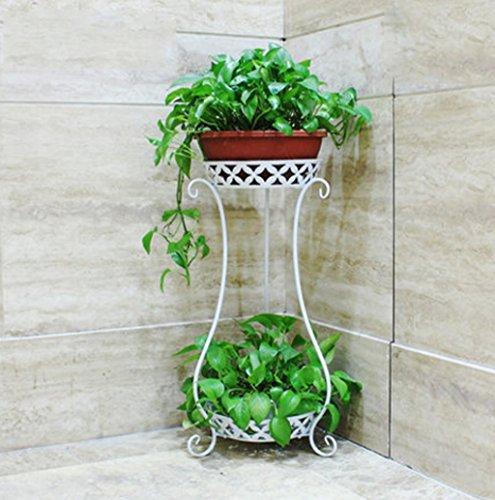 Porte-fleurs Grilles de fleur de fer forgé de style européen, étagère de fleur de salon intérieur de balcon de multi-plancher, armature verte d'usine d'araignée radiante, double conception Support de fleurs ( Couleur : Blanc )