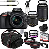 Nikon D5600 DX-Format DSLR Two Lens Import Kit with AF-P DX NIKKOR 18-55mm f/3.5-5.6G VR & AF-P DX NIKKOR 70-300mm f/4.5-6.3G ED + Deluxe Accessory Bundle Included Extra Lenses Memory Cards and More