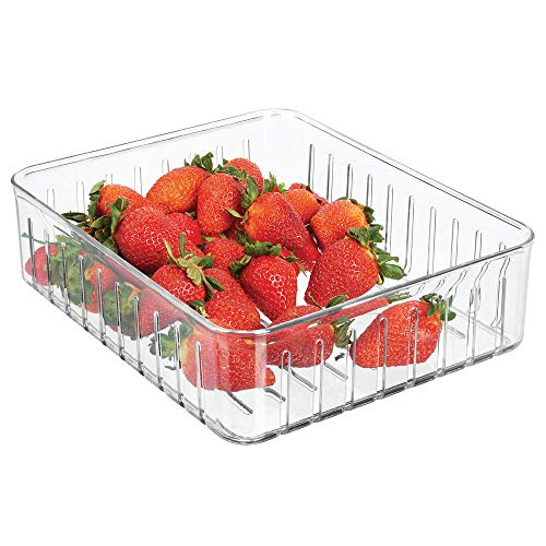 mDesign Organizador de nevera grande – Práctico organizador de despensa sin tapa – Cajas plásticas organizadoras para alimentos con ranuras laterales de ventilación – transparente