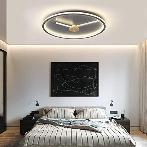 FRWANG Dimmbar Schlafzimmer LED Deckenleuchte Wohnzimmer Deckenlampe Kreative Ultradünn 5Cm Runde Uhren Design Deckenlampe,Warm Light,50CM