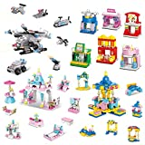 【City Building Blocks Set with 4 Different Scenes】This building play-set comes with various scenes including armed helicopter amusement park princess castle shopping street. You can build your own armed team, garden, sightseeing, swing, pool, bedroom...