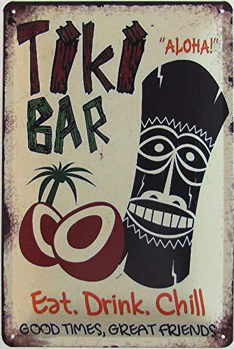 Blechschild 20x30cm gewölbt The Tiki Bar Hawaii Cocktails Aloha Eat Drink Chill Deko Geschenk Schild