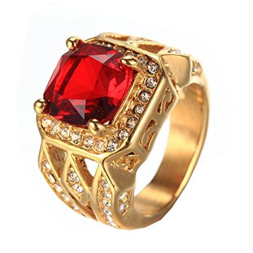 PMTIER Herren Jahrgang Edelstahl Zirkonia Kristall Ring Gold Rot Größe 54