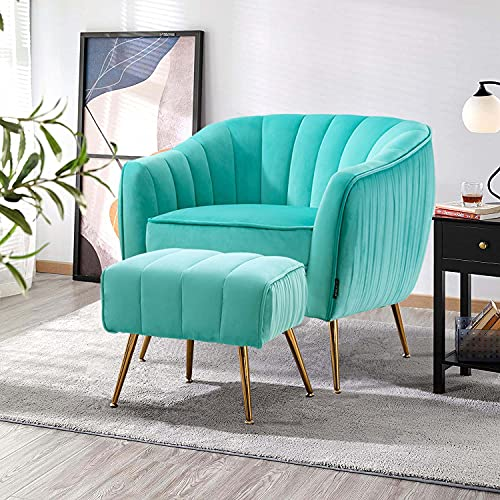 Altrobene Accent Chair Ottoman Set, Modern Club Chair with Footstool for Living Room / Bedroom / Home Office, Velvet Upholstered, Curved Tufted, Golded...